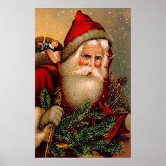 Vintage Papá Noel con el bastón Póster