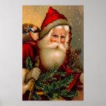 Vintage Papá Noel con el bastón Posters