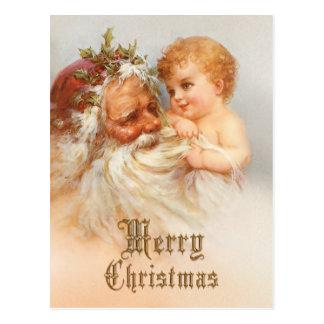 Vintage Papá Noel con el niño sonriente Postales