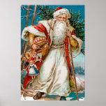 Vintage Papá Noel con el poster de los juguetes