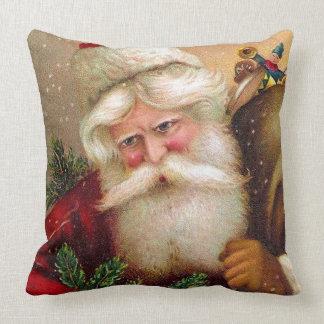 Vintage Papá Noel con el saco lleno de juguetes Cojin