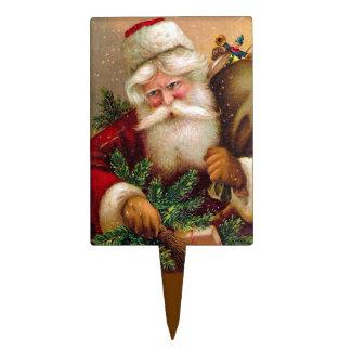 Vintage Papá Noel con el saco lleno de juguetes Figuras Para Tartas