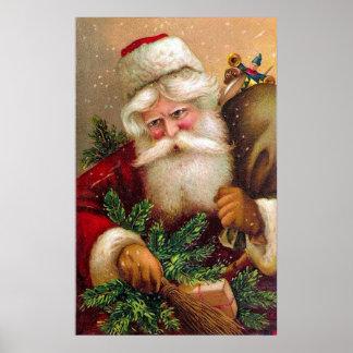 Vintage Papá Noel con el saco lleno de juguetes Póster