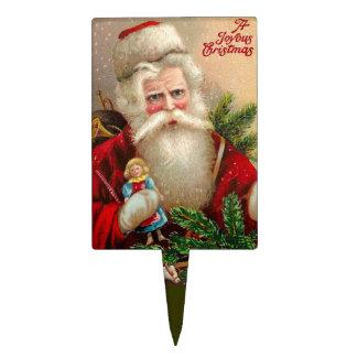 Vintage Papá Noel con la muñeca Decoración Para Tarta