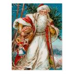 Vintage Papá Noel con la postal de los juguetes