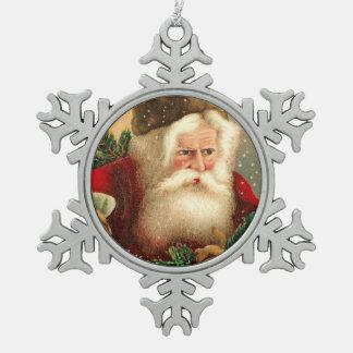 Vintage Papá Noel con los juguetes 2 Adorno De Peltre En Forma De Copo De Nieve