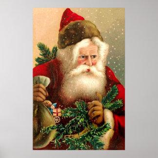 Vintage Papá Noel con los juguetes 2 Posters