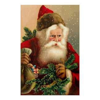 Vintage Papá Noel con los juguetes 2 Póster