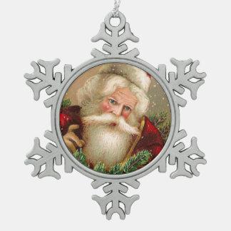 Vintage Papá Noel con los juguetes Adorno De Peltre En Forma De Copo De Nieve