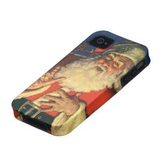 Vintage Papá Noel con los juguetes el Nochebuena iPhone 4/4S Funda