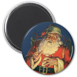 Vintage Papá Noel con los juguetes el Nochebuena Imán