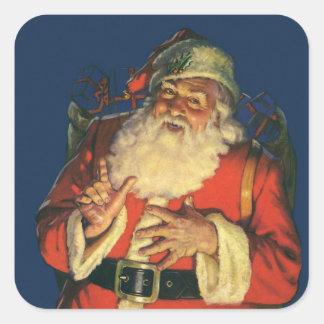 Vintage Papá Noel con los juguetes el Nochebuena Calcomanías Cuadradass
