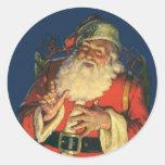Vintage Papá Noel con los juguetes el Nochebuena Etiquetas