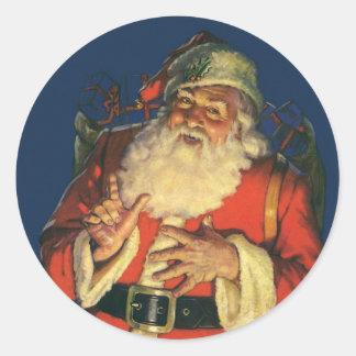 Vintage Papá Noel con los juguetes el Nochebuena Etiquetas Redondas