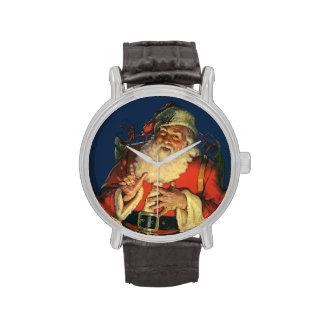 Vintage Papá Noel con los juguetes el Nochebuena Reloj De Mano