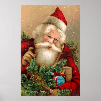 Vintage Papá Noel con los juguetes Póster