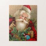 Vintage Papá Noel con los juguetes Rompecabezas Con Fotos