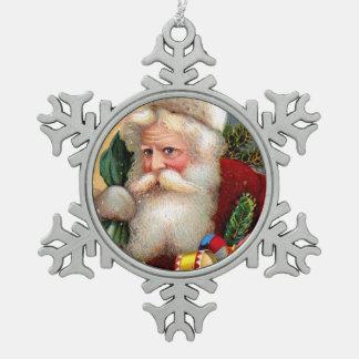 Vintage Papá Noel con los juguetes y las ramitas Adorno De Peltre En Forma De Copo De Nieve