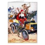 Vintage Papá Noel con los payasos en navidad de un Felicitacion