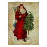 Vintage Papá Noel con los regalos y el árbol Tarjeta