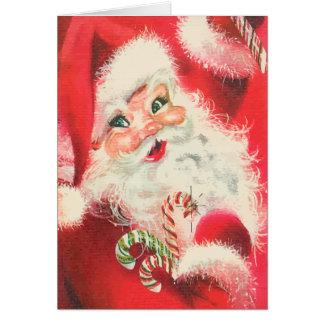 Vintage Papá Noel con navidad del caramelo de azúc Tarjeta