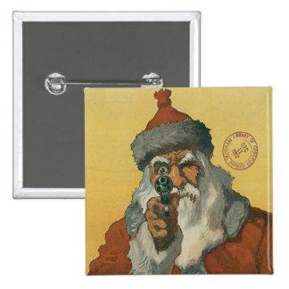 Vintage Papá Noel con un arma Pins
