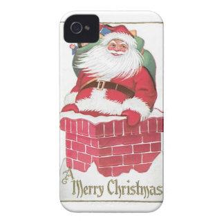 Vintage Papá Noel en chimenea iPhone 4 Case-Mate Cobertura