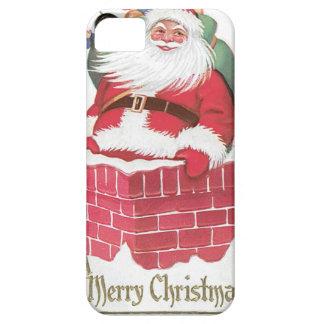 Vintage Papá Noel en chimenea iPhone 5 Case-Mate Protectores