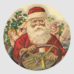 Vintage Papá Noel en coche: Pegatinas Etiqueta Redonda