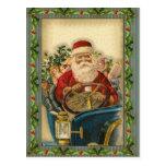 Vintage Papá Noel en coche: Postales