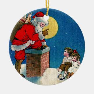 Vintage Papá Noel en el ornamento del navidad de Adorno Redondo De Cerámica