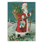 Vintage Papá Noel en la nieve Felicitaciones