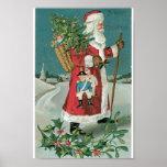 Vintage Papá Noel en la nieve Impresiones
