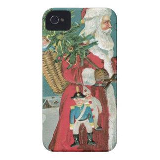 Vintage Papá Noel en la nieve iPhone 4 Protectores