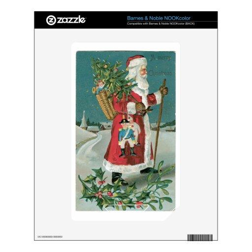 Vintage Papá Noel en la nieve Calcomanía Para El NOOK Color