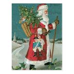 Vintage Papá Noel en la nieve Tarjeta Postal