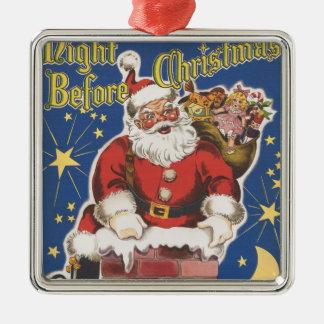 Vintage Papá Noel, noche de Twas antes del navidad Adorno Cuadrado Plateado