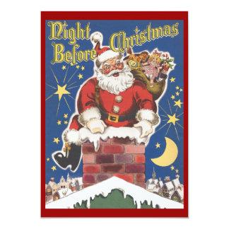"""Vintage Papá Noel, noche de Twas antes del navidad Invitación 5"""" X 7"""""""