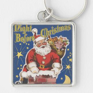 Vintage Papá Noel, noche de Twas antes del navidad Llavero Cuadrado Plateado