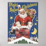 Vintage Papá Noel, noche de Twas antes del navidad Poster