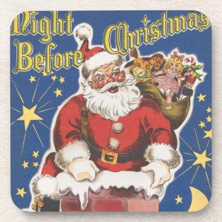 Vintage Papá Noel, noche de Twas antes del navidad Posavasos