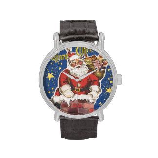 Vintage Papá Noel, noche de Twas antes del navidad Relojes De Mano
