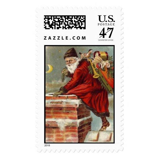 Vintage Papá Noel pasado de moda Sello Postal
