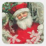 Vintage Papá Noel Pegatinas Cuadradases Personalizadas