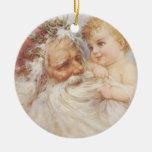Vintage Papá Noel por el ornamento del pliegue de Adorno De Reyes