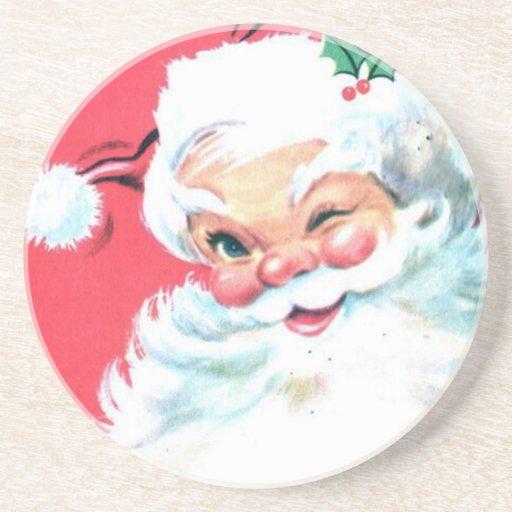Vintage Papá Noel Posavasos Personalizados