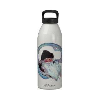 Vintage Papá Noel que fuma un tubo Botella De Agua Reutilizable