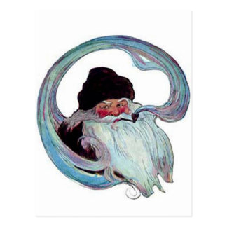 Vintage Papá Noel que fuma un tubo Postales