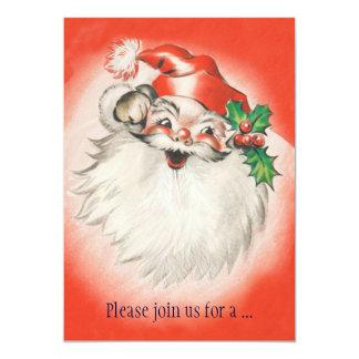 """Vintage Papá Noel retro alegre, fiesta de Navidad Invitación 5"""" X 7"""""""