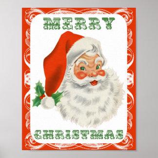 Vintage Papá Noel retro de las Felices Navidad Póster